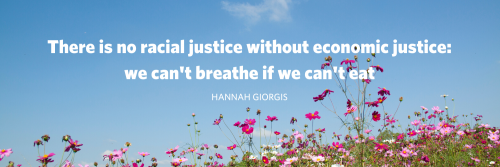 """Image of flowers with text: """"there is no racial justice without economic justice: we can't breathe if we can't eat"""""""