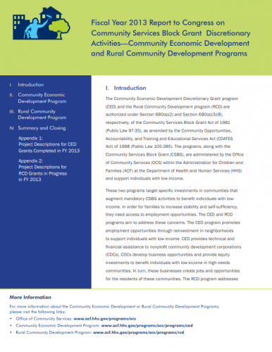 2013 CED and RCD Report to Congress