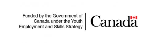 """Logo of the government of Canada with text: """"Funded by the government of Canada under the Youth Employment and Skills Strategy"""""""