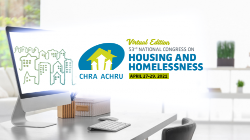 """Image of computer overlaid with text: """"Virtual Edition, 53rd National Congress on Housing and Homelessness. April 27-29, 2021."""""""