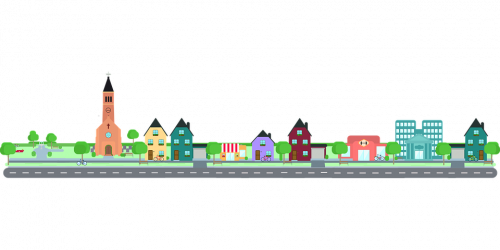 a vector graphic illustrating a long road with a row of buildings that make up a community: homes, a church, a hospital, an official city building, on a long road with green space.