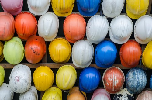 Colourful construction helmets