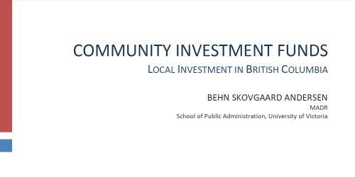Community Investment Funds Local Investment In British Columbia