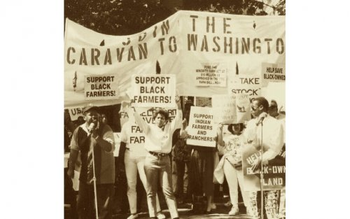 "Image of Black people holding signs that say ""support Black farmers"" and ""join the caravan to washington"""