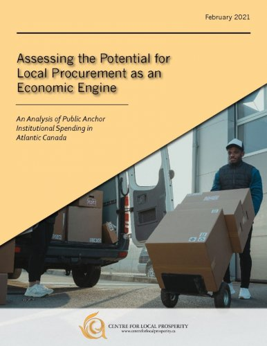 """Image of a person pushing cardboard boxes. (With text( """"Assessing the Potential for Local Procurement as an Economic Engine"""