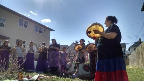 Women drumming at West Central Women's Resource Centre