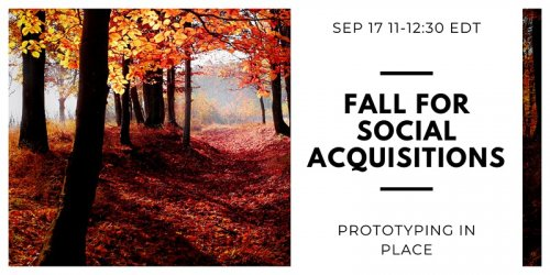 Image of a forest that says Fall for Social Acquisitions with information about webinar timing