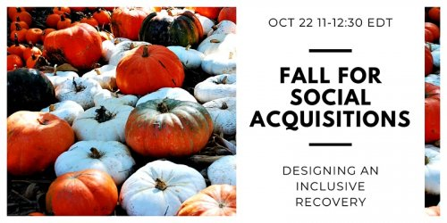 Banner image with text that says fall for social acquisitions, designing an inclusive recovery