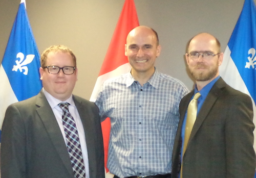 Ryan Gibson, the Honourable Jean-Yves Duclos, and Michael Toye