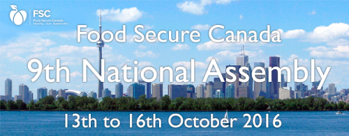Food Secure Canada's Assembly in 2016