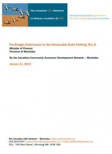 Pre-Budget Submission to the Honourable Scott Fielding