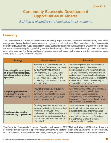 Community Economic Development Opportunities in Alberta