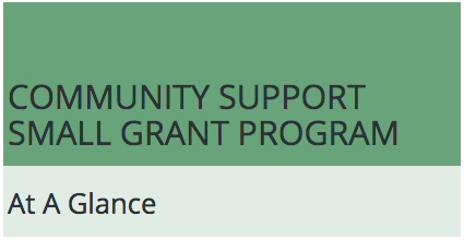 Community Support Small Grant Program: At a Glance