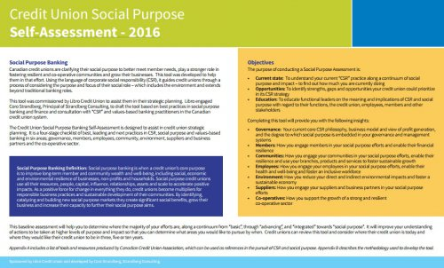 Credit Union Social Purpose Self-Assessment - 2016