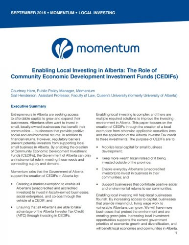 Enabling Local Investing in Alberta