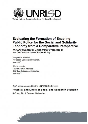 Evaluating the Formation of Enabling Public Policy for the Social and Solidarity Economy from a Comparative Perspective