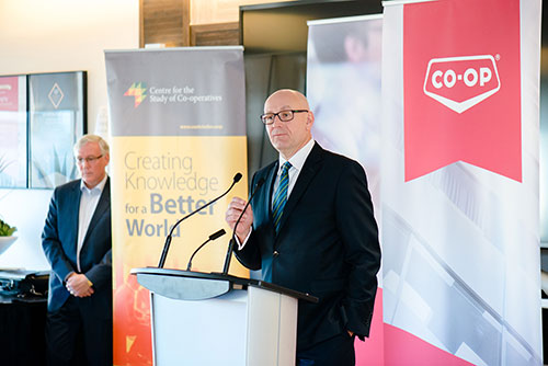 FCL CEO Scott Banda announces a $5 million commitment supporting Co-operatives First.