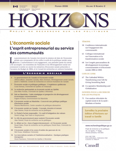 Page couverture Horizons v8n2