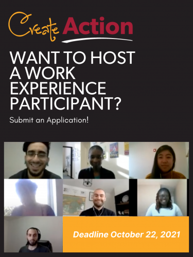 """CreateAction poster: """"Want to Host a Work Experience Participant? Submit an Application! (Deadline October 22, 2021)"""""""