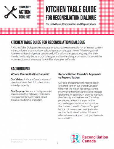 Kitchen Table Guide for Reconciliation Dialogue