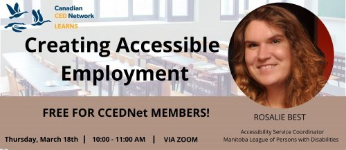 Creating Accessible Employment promo card with a picture of Rosalie Best and the details of the session