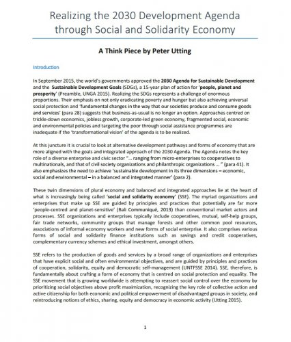 Realizing the 2030 Development Agenda through Social and Solidarity Economy