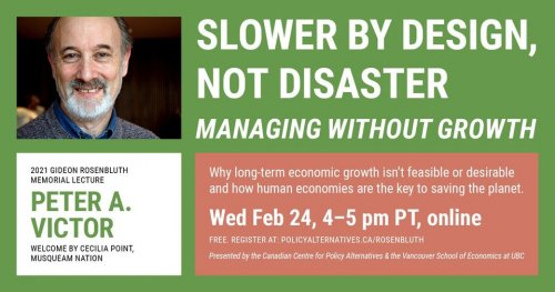 Promo card featuring a picture of Peter Victor with the title of the session: Slower By Design Not Disaster