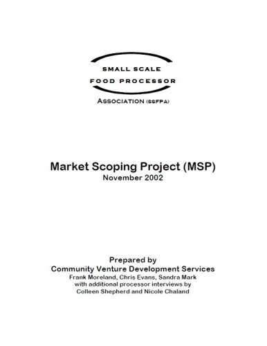Small Scale Food Processor Association Market Scoping Project