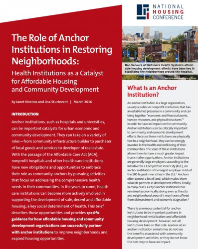 The Role of Anchor Institutions in Restoring Neighborhoods