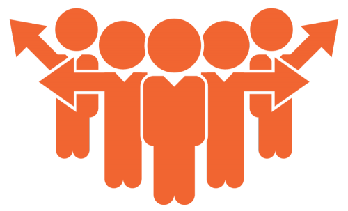 Orange figures standing in a group, with arrows pointing in all directions, working as a team