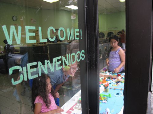 Community activities in a laundromat