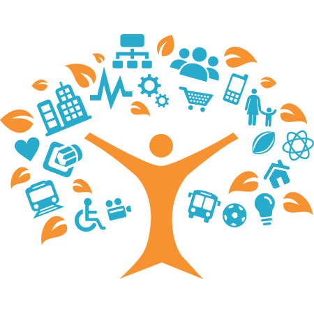 Orange figure with arms outstretched, like a tree, with icons branching out that indicate things like: accessibility, transportation, evaluation, strategy etc..