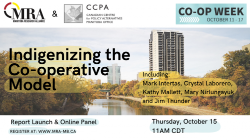 Banner image with information about the Indigenizing the Co-operative Model report launch and online panel