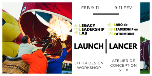 """Image of hot air baloon with words """"Feb 9-11, Legacy Leadership Lab, Launch, 5+1 hour design workshop"""""""