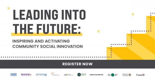 "Banner with text: ""Leading into the future: inspiring and activating community social innovation"""