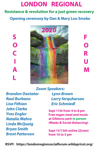 Image of a rainbow waterfall with information about the London Regional Social Forum
