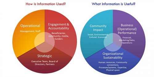 """Infographic with two circular graphs saying """"how is information used?"""" and """"what information is useful?"""""""