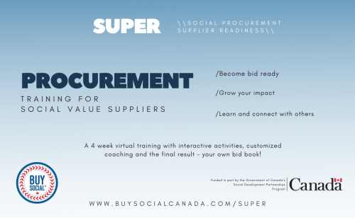 """Text on blue/ white background: """"Super Social procurement supplier readiness. Procurement training for social value suppliers. Become bid ready. Grow your impact. Learn and connect with others. A 4 week virtual training with interactive activities, customized coaching and the final result - your own bid book! WWW.BuySocialCanada.Com/Super."""" The Buy Social logo and Government of Canada logos are featured at the bottom of the image."""