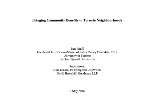 Bringing Community Benefits to Toronto Neighbourhoods (Ben Hanff, Master Thesis)