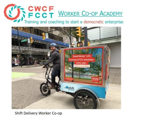 """Employee of Shift Delivery Worker Co-op driving delivery cycle with text: """"CWCF FCCT Worker Co-op Academy. Training and coaching to start a democratic enterprise."""""""