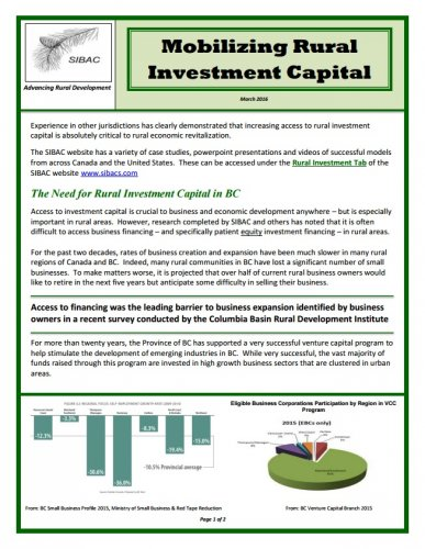 SIBAC Rural Investment Capital Handout