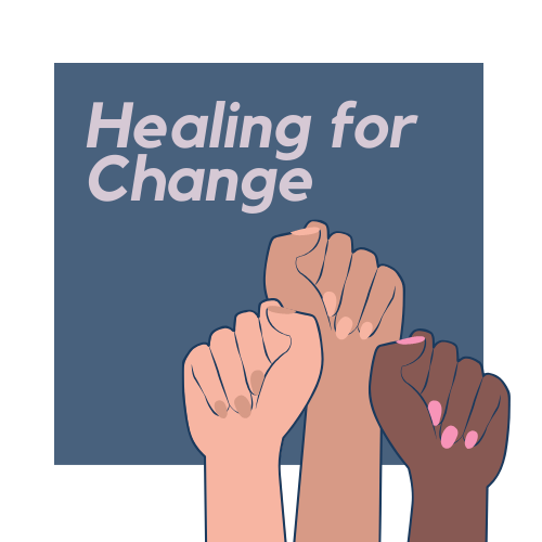 """three hands of different races with fists raised in the air. A blue box surrounds them with the text """"Healing for Change"""" in the space above the hands."""