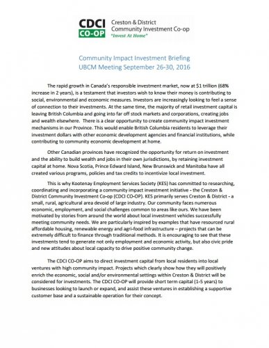 UBCM - Community Impact Investment Briefing