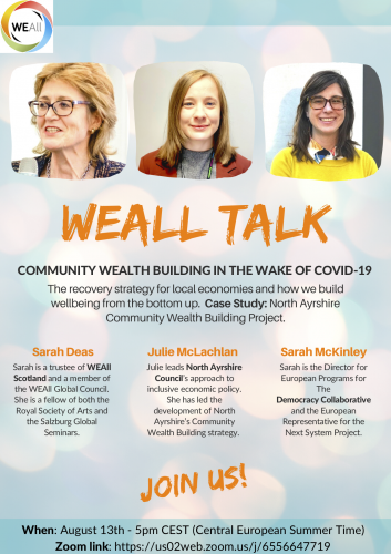 Flyer with information on WEAll Talk: Community Wealth Building in the wake of COVID19