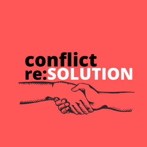"red background with text in black that reads ""conflict re:"" and solution is capitalized in white text. Directly below the text, two hands grasp one another in a gesture of peace."