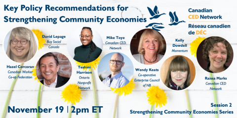 Webinar promo image: Key Policy Recommendations for Strengthening Community Economies, November 19 | 2pm Eastern Time (includes pictures of all the speakers against a backdrop of dandelions)