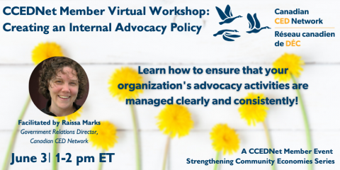 """Promo card for the member virtual workshop on """"Creating an Internal Advocacy Policy"""" with yellow dandelions in the background and a picture of the facilitator Raissa Marks"""